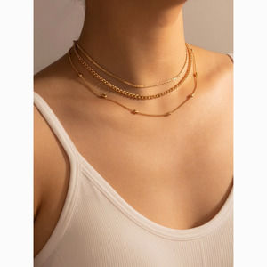 3/$30 Gold Chain Layered Choker Statement Necklace